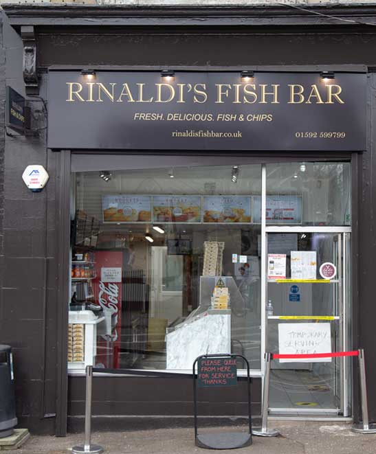 Rinaldi's Fish Bar Kirkcaldy shop front